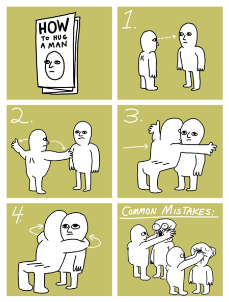 man hugs,men,instructions