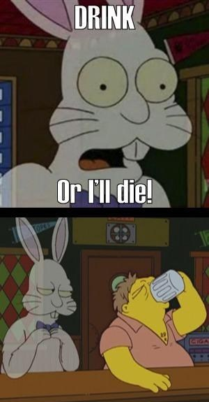 barney drink or i'll die moes-tavern rabbit the simpsons - 6759954944