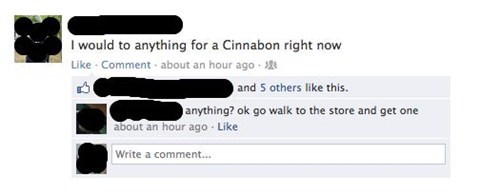 facecbook,Cinnabon,walking,laziness,store