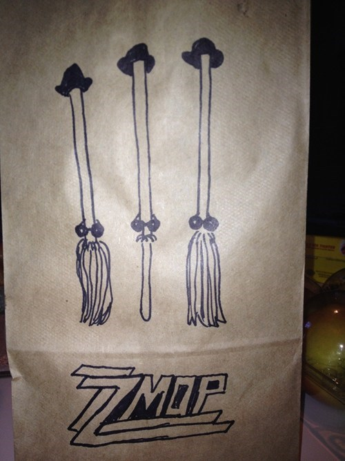 lunch bags,mops,zz top