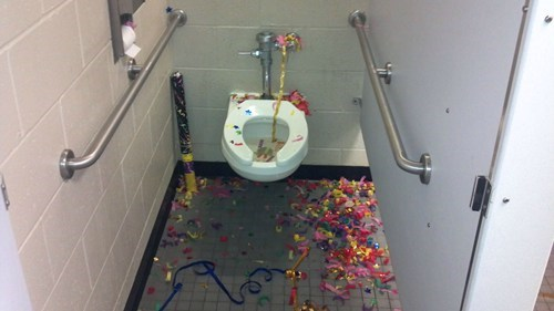 puke,bathroom,confetti,toilet
