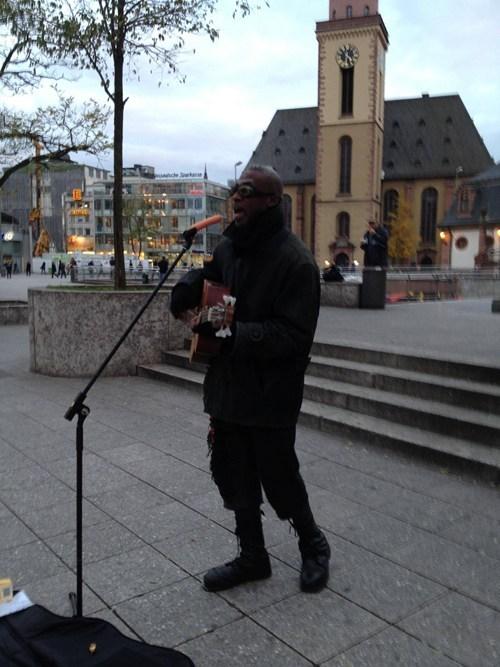 hotdog street performer microphone