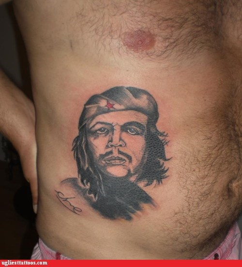 belly tattoo,Che Guevara