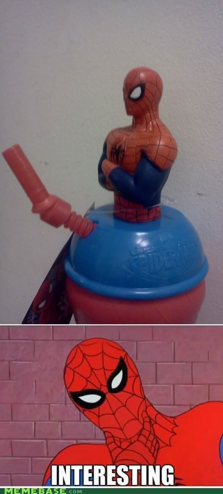 Spider-Man,cup,straw,boner