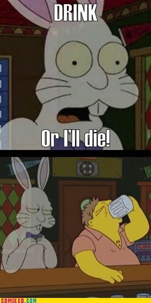 drinking TV Harvey rabbit the simpsons - 6760360448