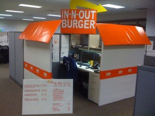 cubicle prank,in n out burger,office prank,burger,in-n-out burger,double double,in-n-out
