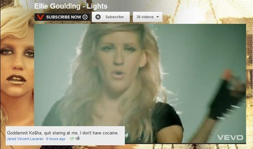 vevo,ellie goulding,keha,cocaine,youtube comments