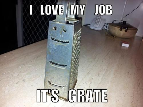 it's grate,i love my job,cheese grater,cheesy joke,cheesy