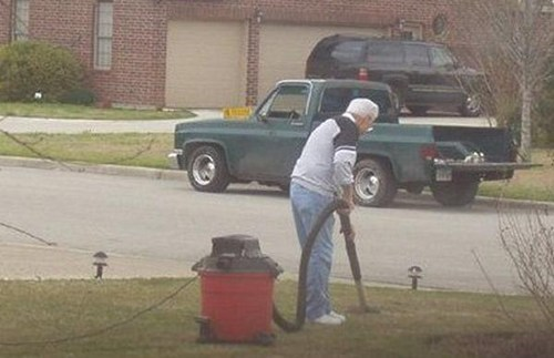clean lawn old people vacuum