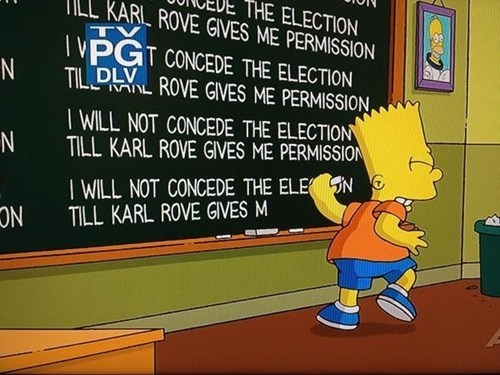 concede fox news Mitt Romney fox Karl Rove chalkboard the simpsons