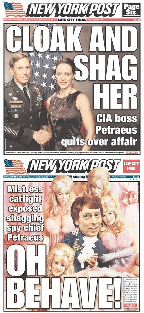 David Petraeus affair puns classy New York Post - 6761134592