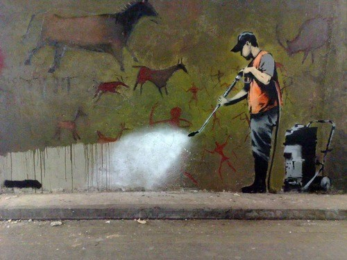 cleaning Street Art cave drawings graffiti hacked irl - 6761358336
