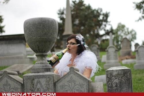 drink,bride,graveyard,champagne