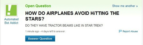 gps,Star Trek,stars,airplanes,space,Yahoo! answers