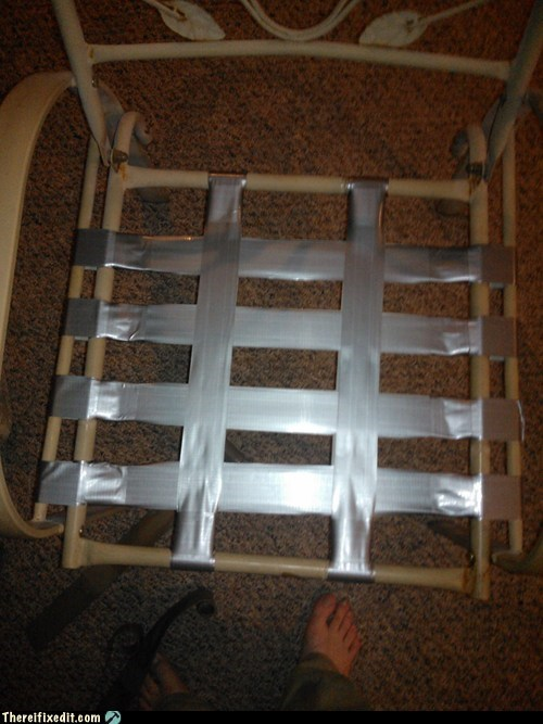 chair lawn chair seat duct tape