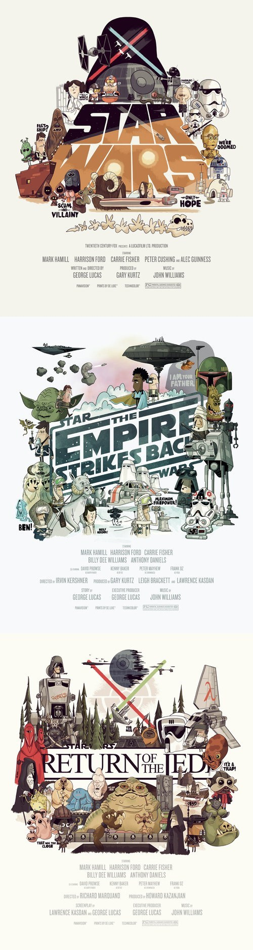 illustrated,star wars,posters,A New Hope,return of the jedi,characters,cartoons,hand drawn,Empire Strikes Back
