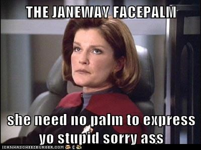 kate mulgrew,eyeroll,facepalm,voyager,captain janeway,Star Trek,stupid