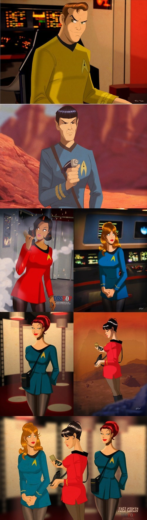 Captain Kirk,Spock,Fan Art,uhura,pin ups,Star Trek