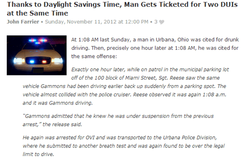 impressive,daylight savings,drinking and driving,dui,same time,pulled over