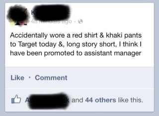 red shirt and khakis,Target,assistant manager