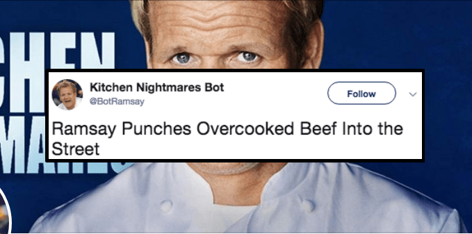 kitchen nightmares twitter gordon ramsay fake satire wacky robots kitchen reality tv funny writing random - 6765061