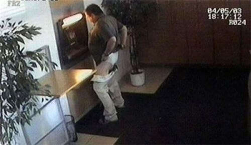 ATM hidden camera underwear adjusting