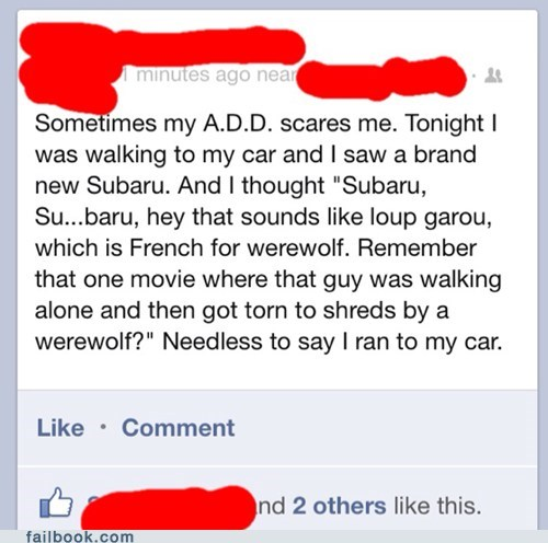 attention deficit disorder,add,subaru,werewolf,french,a.d.d.