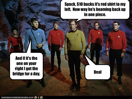 Captain Kirk,scotty,Spock,uhura,leoard nimoy,red shirts,dying,Star Trek,William Shatner,Shatnerday,james doohan,betting,Nichelle Nichols