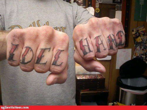 misspelled tattoos,knuckle tattoos,idle hands