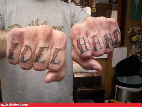 misspelled tattoos knuckle tattoos idle hands - 6766133504