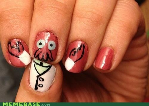 amazing,nail art,Zoidberg,nails,fashion,style,futurama