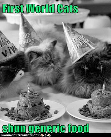 First World Cats  shun generic food