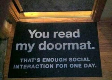 antisocial Close Enough emo social interaction doormat - 6767180288