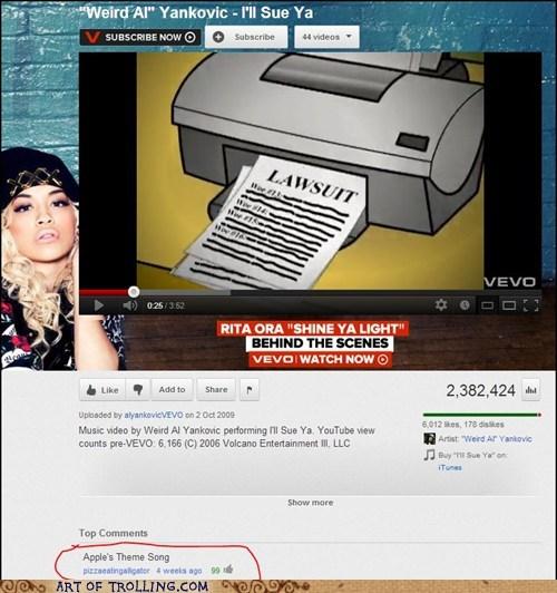 Weird Al Yankovic youtube lawsuits apple - 6767338240