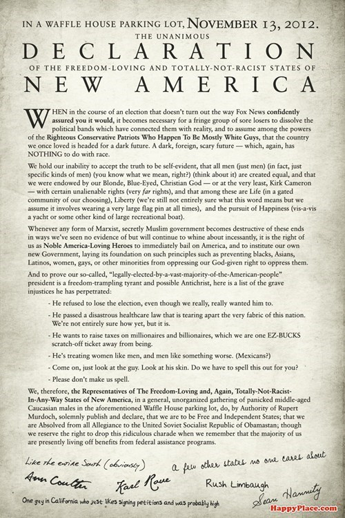 not racist secession america election reaction declaration of independence