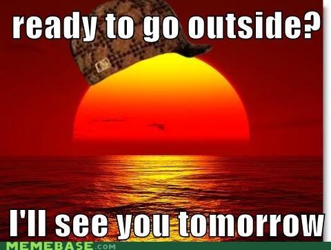 outside sun Scumbag Steve hat sunset