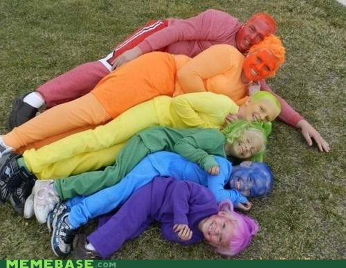 family photo,weird,rainbow