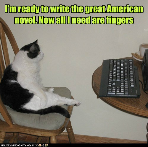 novel fingers writer captions thumbs Cats - 6768006912