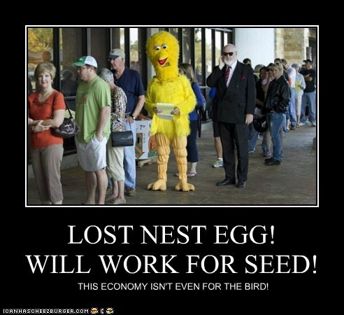 LOST NEST EGG! WILL WORK FOR SEED! THIS ECONOMY ISN'T EVEN FOR THE BIRD!