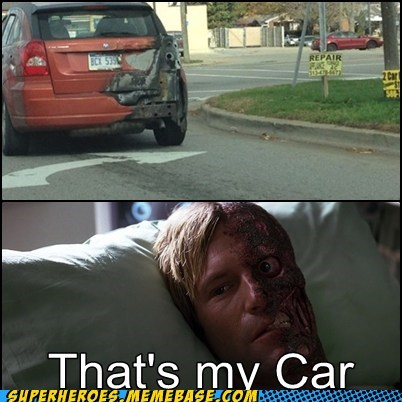 two face,car,burned