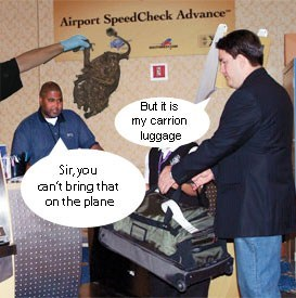 airport carrion literalism homophones carry on double meaning luggage - 6769469952