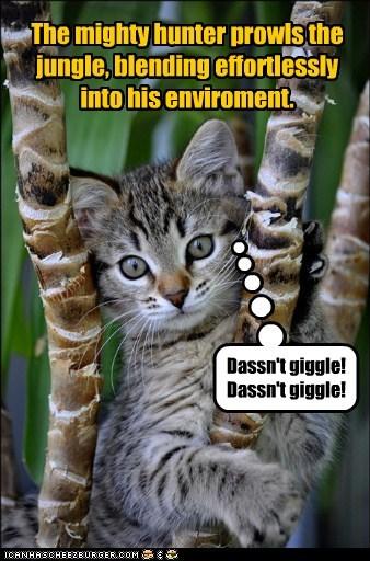 The mighty hunter prowls the jungle, blending effortlessly into his enviroment. Dassn't giggle! Dassn't giggle!