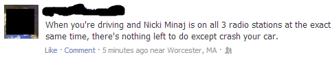 suicide car crash nicki minaj