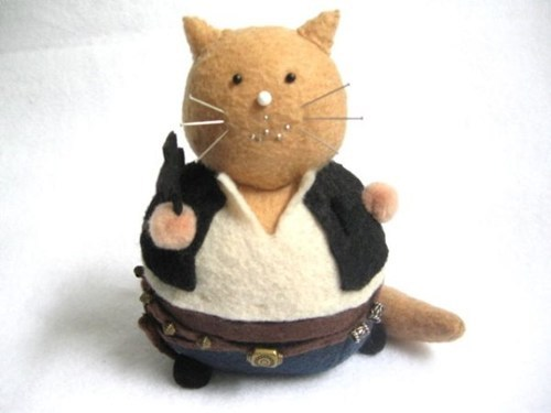 cat,pincushion,felt,Plush,star wars,Han Solo