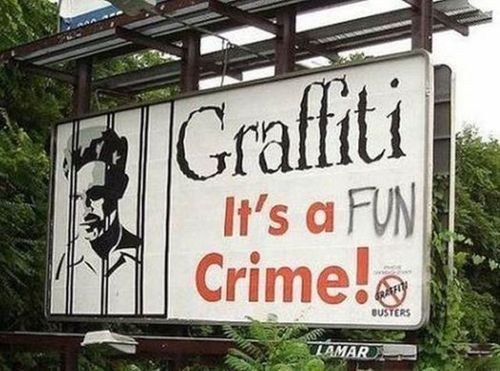 fun sign crime graffiti hacked irl