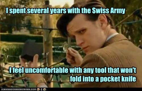 the doctor,swiss army,Matt Smith,doctor who,uncomfortable,cube,tool