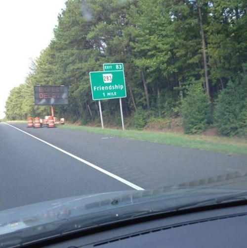 forever alone,sign,road,town name,irony