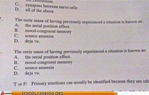 psych exam the brain deja vu test humor science - 6770455296