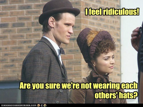 the doctor,jenna-louise coleman,hats,FEZ,Matt Smith,ridiculous,Clara Oswin