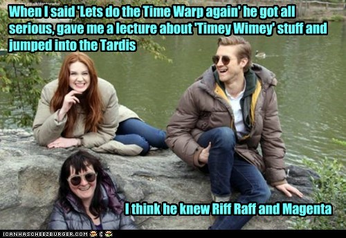 rory williams,Rocky Horror Picture Show,riff raff,timy wimey,karen gillan,magenta,the doctor,doctor who,amy pond,arthur darvill,laughing